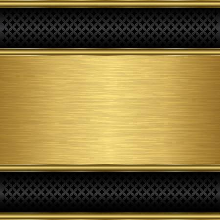 black metallic background: Abstract golden background with metallic speaker grill, illustration