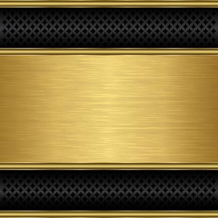 Fondo abstracto de oro con rejilla metálica altavoz, ilustración