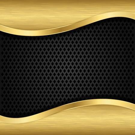 gouden ster: Abstract gouden achtergrond met metalen speaker grill, illustratie Stock Illustratie