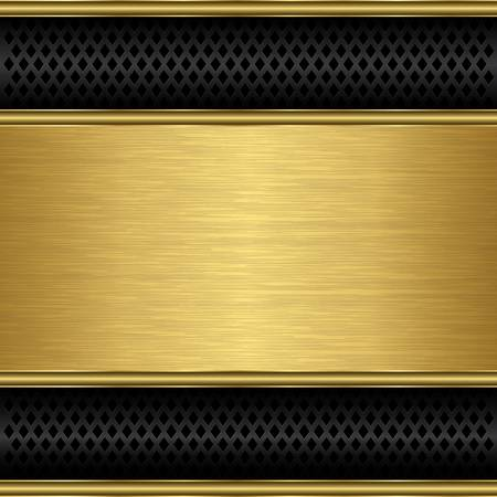 speaker grille: Abstract golden background with metallic speaker grill, illustration