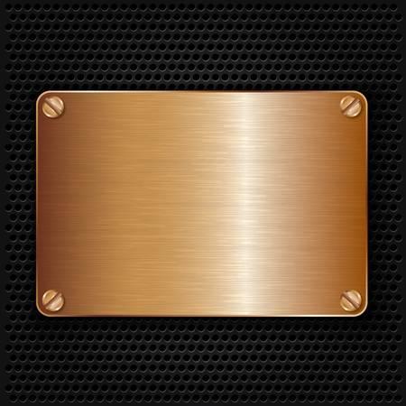 Bronze texture plate with screws, vector illustration Stock Vector - 17893952
