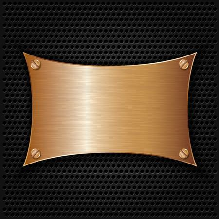 cooper: Bronze texture plate with screws, vector illustration