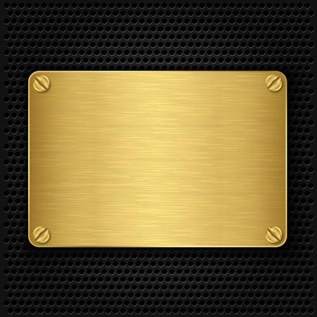 steel plate: Golden texture plate with screws, vector illustration