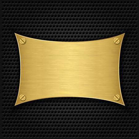 Golden texture plate with screws, vector illustration Stock Vector - 17893930