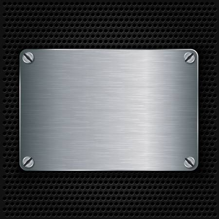 speaker grill: Metal texture plate with screws, vector illustration