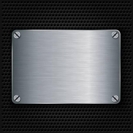 metalico: Placa de metal con tornillos textura, ilustración vectorial