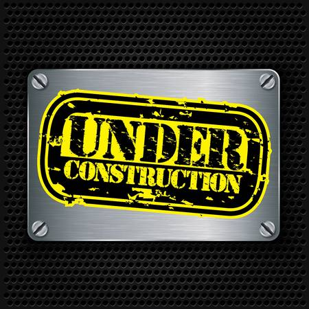 os: Under construction stamp on metal textured plate, vector illustration