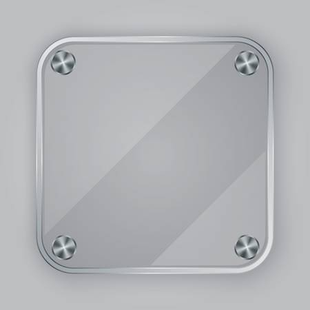 Glass app icon with silver screws, illustration Vector