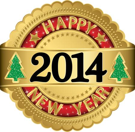 Happy new 2014 year golden label, vector illustration  Vector