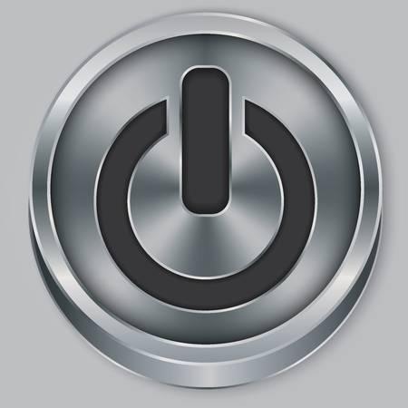 Power metallic button, vector illustration Stock Vector - 18512548