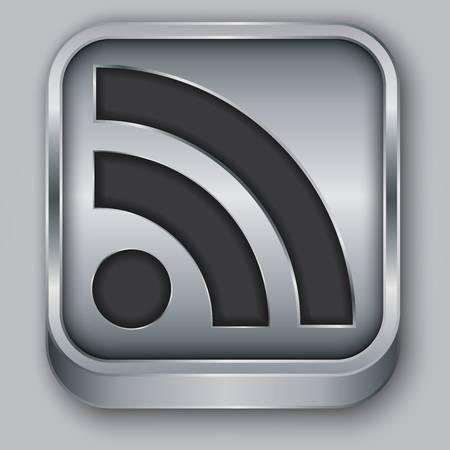 RSS feed metallic app icon, vector illustration Stock Vector - 18512521