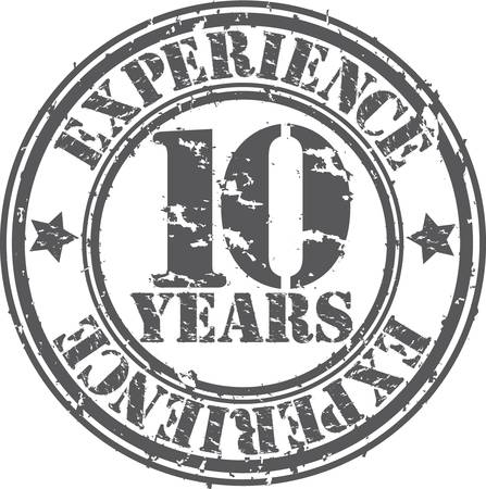 seal of approval: Grunge 10 years of experience rubber stamp, vector illustration Illustration