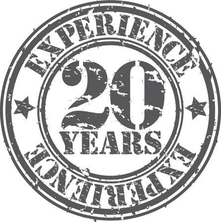 Grunge 20 anni di esperienza timbro di gomma, illustrazione vettoriale Vettoriali