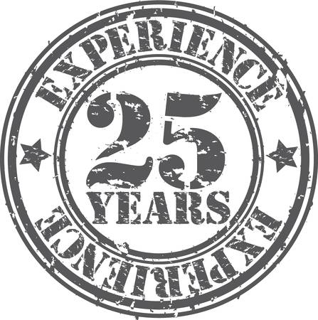 experiences: Grunge 25 years of experience rubber stamp, vector illustration