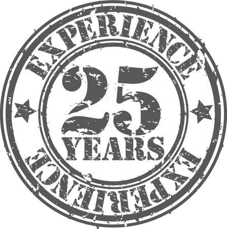 guarantee seal: Grunge de 25 a�os de experiencia sello de goma, ilustraci�n vectorial