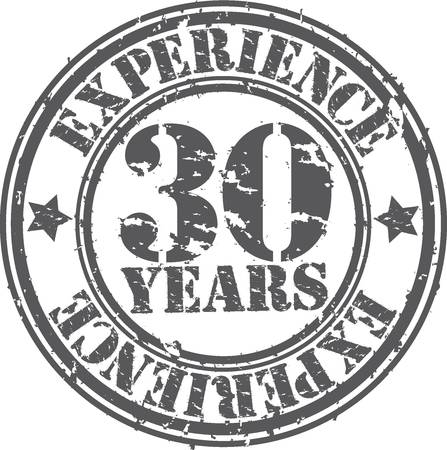 Grunge 30 years of experience rubber stamp, vector illustration Vector
