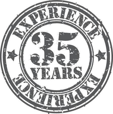 35 years: Grunge 35 years of experience rubber stamp, vector illustration