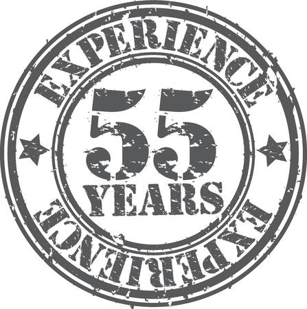 Grunge 55 years of experience rubber stamp, vector illustration Vector