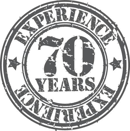 70 years: Grunge 70 years of experience rubber stamp, vector illustration