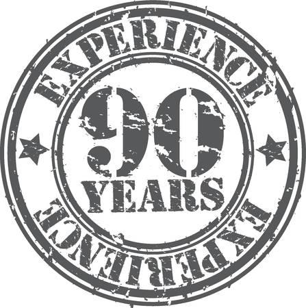90 years: Grunge 90 anni di esperienza timbro di gomma, illustrazione vettoriale Vettoriali