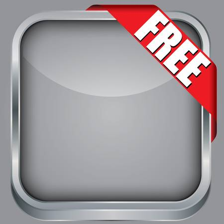 Blank  app icon with free ribbon, vector illustration Vector