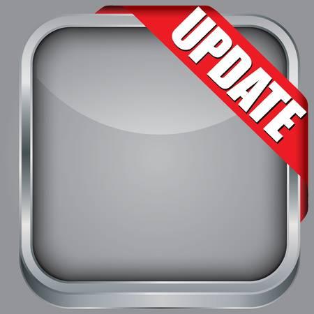Blank  app icon with update ribbon, vector illustration Illustration