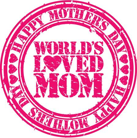 Grunge Happy mother s day rubber stamp illustration  Vector