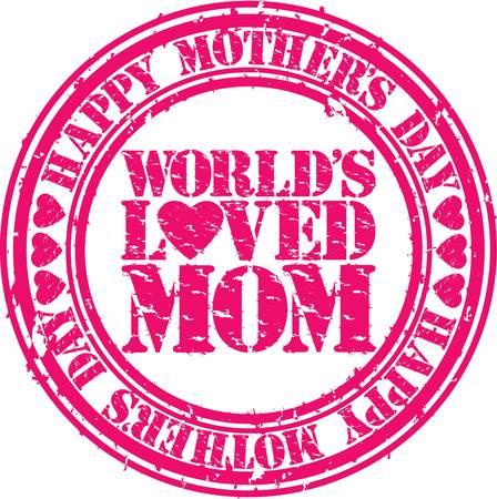 love stamp: Grunge Happy mother s day rubber stamp illustration  Illustration