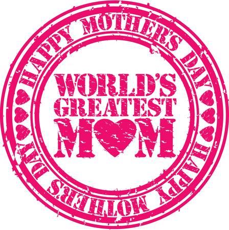 no 1: Grunge Happy mother s day rubber stamp illustration  Illustration