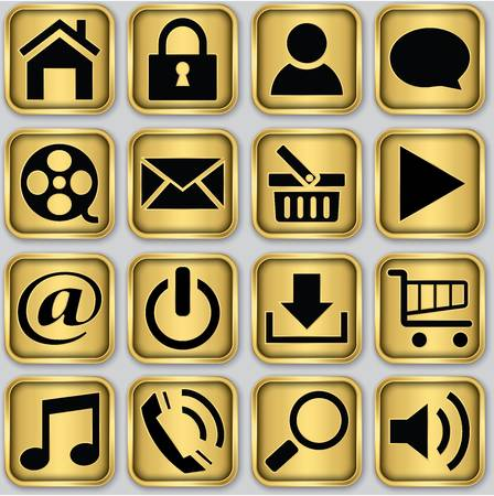 Golden app icon set, vector illustration Vector