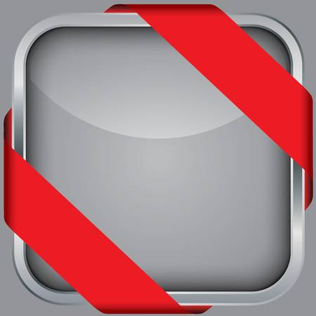 silver blank app icon with red ribbon Stock Vector - 18852245