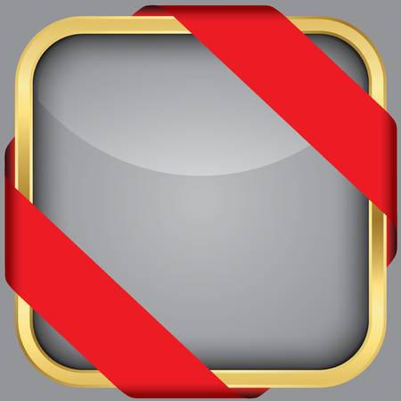 Golden blank app icon with red ribbon Stock Vector - 18852250