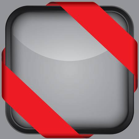 Black blank app icon with red ribbon Vector