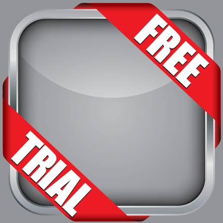 free trial: Blank app icon with free trial ribbon, vector illustration