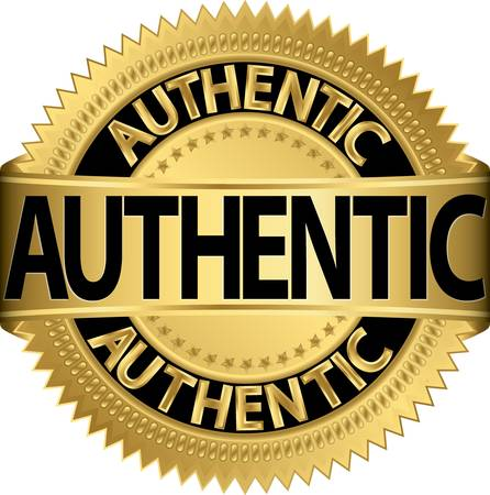 genuine: Authentic golden label, vector illustration