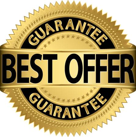 seal of approval: Best offer guarantee golden label, vector illustration