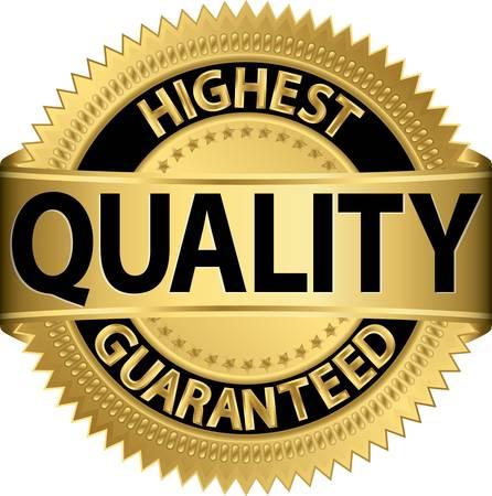 Hoogste kwaliteit gegarandeerd gouden label, vector illustratie Vector Illustratie