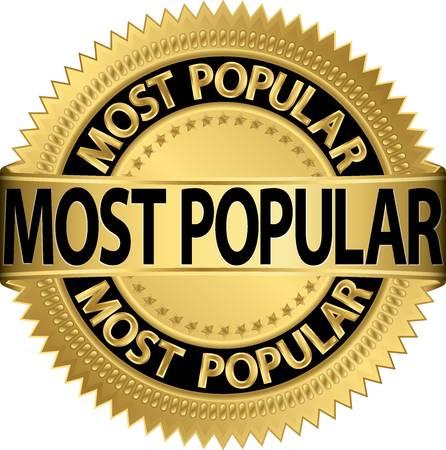 Most popular golden label, vector illustration