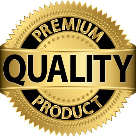 quality assurance: Premium quality product golden label, vector illustration