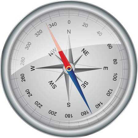 north arrow: Silver vector compass with wind rose, vector illustration