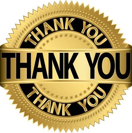 dank u: Dank u gouden label, vector illustratie