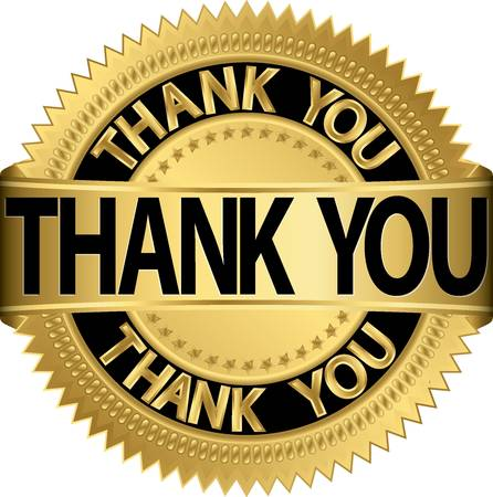 thankful: Gracias etiqueta de oro, ilustraci�n vectorial