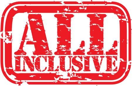 inclusive: Grunge all inclusive rubber stamp, illustration