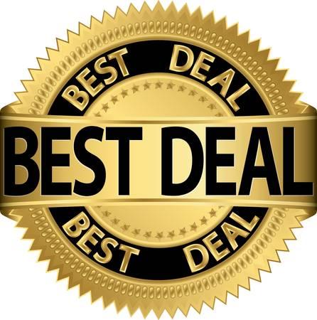 Best deal golden label, illustration  Vector