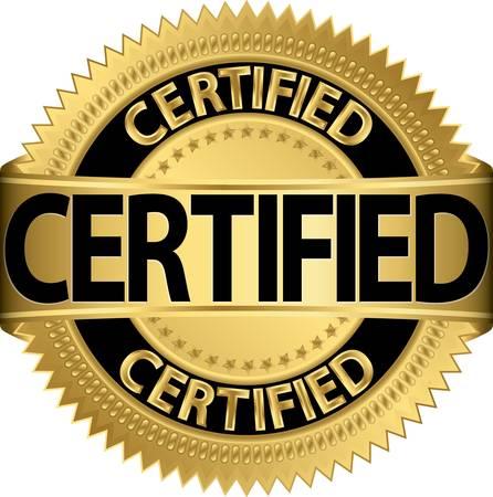 Gecertificeerde gouden etiket, illustratie Stock Illustratie