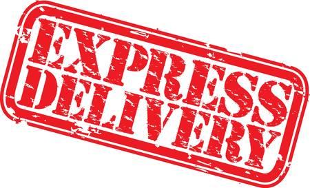 express delivery: Grunge express delivery rubber stamp, illustration