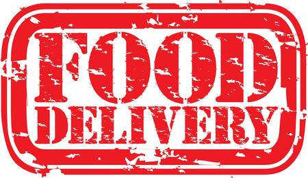 Grunge food delivery rubber stamp, illustration  Vector