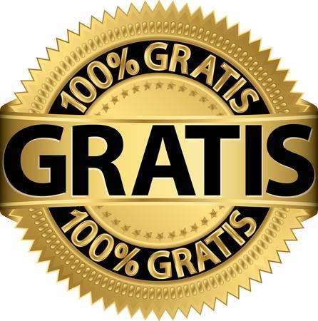 gratis: Gratis golden label, illustration
