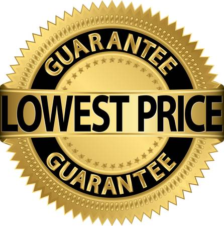 best price icon: Lowest price guarantee golden label,  illustration