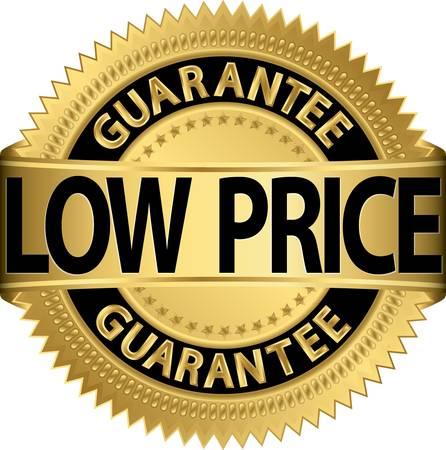 low price: Prezzi bassi garantiti etichetta dorata, illustrazione